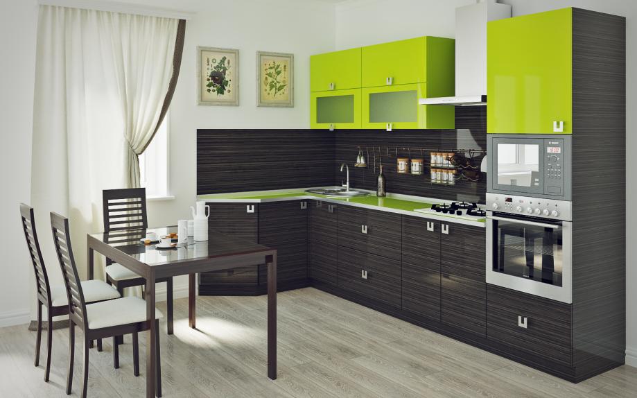 кухня угловая с зеленым верхом на заказ