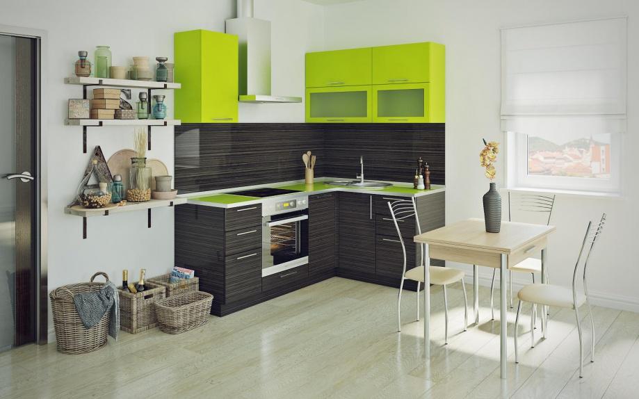 кухня угловая в зеленым верхом на заказ