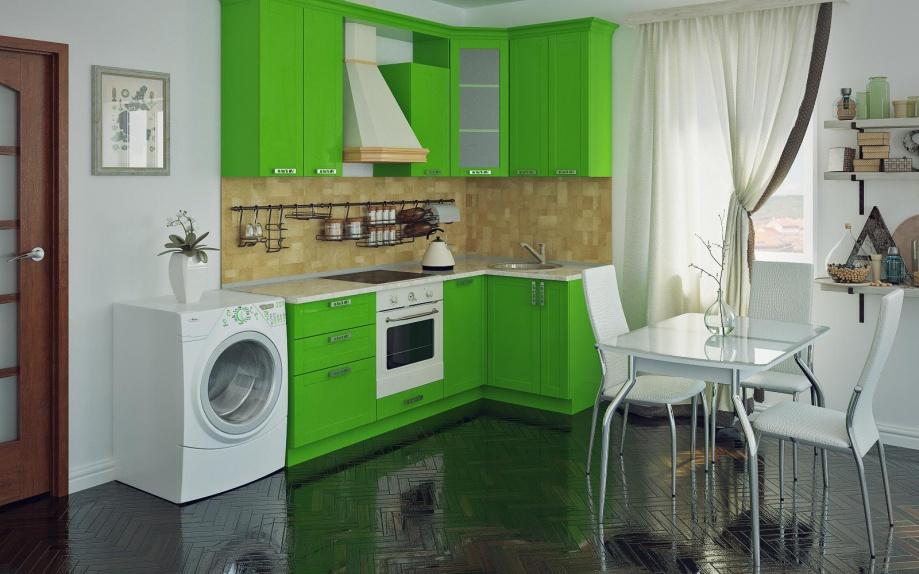 угловая кухня зеленая из пластика на заказ