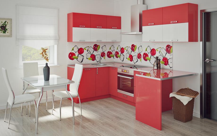 угловая кухня красна, с барной стойкой на заказ