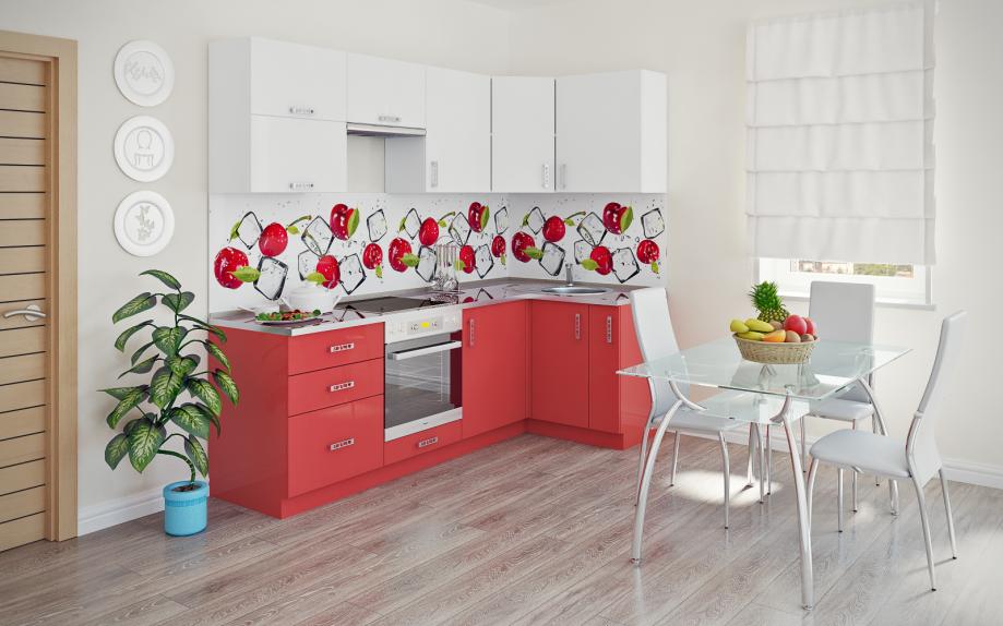 кухня угловая с элементами красного купить на заказ