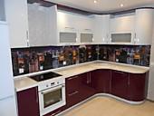 Кухонный гарнитур №222 МДФ/глянец/белый/бордо. Цена: 59500 руб.