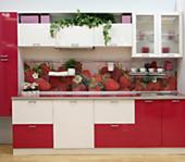 Кухня № 48 Кухня Пластик Земляника+Белый Лед 3000 мм 37442 р. по Акции цена  32200 р.