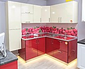 """Цена на кухню №131 """"W & RED"""" 47726 р. Цена по Акции за гарнитур 41500 руб."""
