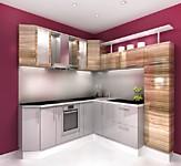 Кухня № 54 Кухня Зебрано+Белый металлик 2800*2660мм55000 р.по Акции цена 51150 р.