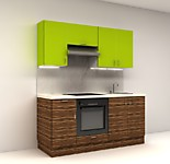 Цена на кухню № 2 Комплект Макассар Л 1800 мм - фасады ЛДСП 12650 р. по Акции цена 11764 р.
